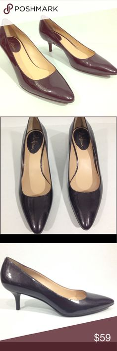 COLE HAAN NIKE AIR PLUM PUMPS Beautiful Cole Haan Nike Air Women's Pumps Condition: Like new condition, no scuffing on upper, few light marks on soles. (See pics) Size: 8B Pointed toe, mid heel, beautiful glossy plum color. Leather upper and soles Cole Haan Shoes Heels