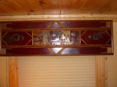 Worn red cornice board. Rustic Valances, Valances & Cornices, Rustic Window Treatments, Cornice Boards, Rustic Western Decor, Birch Bark, Diy Hacks, Window Curtains, New Experience