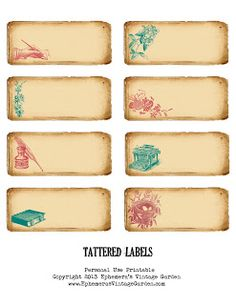 Ephemeras Vintage Garden- Free Printable - Tattered Labels-I made a set of small labels for you today.  They would look pretty on jars, as small gift tags, or on your journaling pages.  There are endless uses for these, actually!