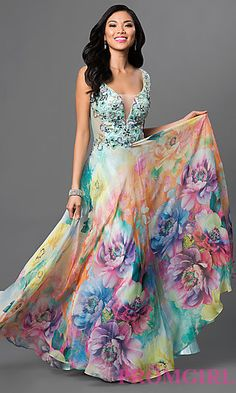 Illusion V-Neck Long Print Dave and Johnny Prom Dress at PromGirl.com