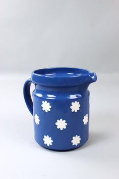 0990b3c8efb Large Wächtersbach pitcher, jug, milk jug, Blue Juice jug, Westgerman  pottery, German ceramics, retro tableware, 70s