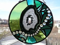 Round Stained Glass with Agate Green Glass by CreativeSpiritGlass, $110.00
