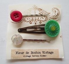 Hey, I found this really awesome Etsy listing at https://www.etsy.com/listing/213030365/vintage-button-hair-clips-handmade