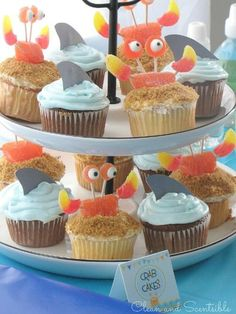 Under the Sea Party - shark and crab cupcakes. Cute!