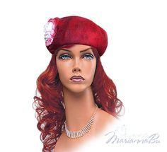 Red felt beret rose