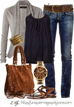 I am really loving this grey/navy/brown color combo. Everything in this picture is adorable! Probably would do boot cut jeans and add a wedge.