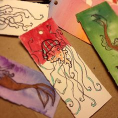tentacles & fins bookmarks | by @Jellywell Art