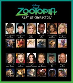 Zootopia - cast of characters. http://www.rotoscopers.com/2015/10/25/meet-the-characters-and-voices-behind-disneys-zootopia/
