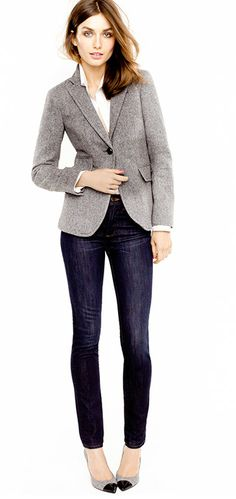 I can wear jeans to work and I love the look of slim cut jeans with a blazer. I also LOVE classic fabrics like tweed