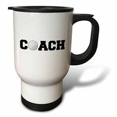 3dRose tm_192410_1 Coach Black Letters with Volleyball on White Background Travel Mug 14Ounce Stainless Steel >>> Read more reviews of the product by visiting the link on the image.