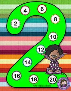 Tafel van 2 Math Board Games, Math Games For Kids, Math Activities, 2nd Grade Math Worksheets, Math Blocks, School Painting, Math Multiplication, Maths, Math School