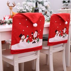 Dining Seat Covers, Kitchen Chair Covers, White Chair Covers, Chair Back Covers, Stool Covers, Chair Backs, Christmas Chair Covers, Christmas Cover, Christmas Hat