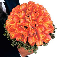 Beautify a Large Bouquet.•Beautify a Large Bouquet   Make a dramatic entrance with this dome-shape orange bouquet with green berzillia berries. .