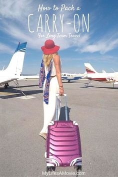 """I travel full time with only a carry-on because it saves time and money, and I always look like I have a ton of clothes with me! Here's all of my tips and techniques for easily doing that, including my """"no-fold"""" and space saver bag tricks!"""