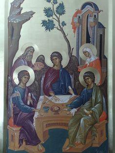 Whispers of an Immortalist: Icons of God 2 The Holy Trinity / Hospitality of Abraham Byzantine Icons, Byzantine Art, Religious Icons, Religious Art, Roman Church, Art Base, Art Icon, Orthodox Icons, Sacred Art