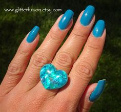 Teal Opal Resin Heart Statement Ring, Turquoise Opalescent Iridescent Heart Ring, Glitter Fusion Boho Glam Hippie Heart Ring, Faux Opal Ring