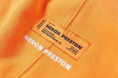fashion tag Available now, we take a quick look at what you can find in the Heron Preston collection in an array of styles and colors. Fashion Tag, Fashion Labels, Fashion Details, Dress Fashion, Tag Design, Label Design, Branding Design, Design Packaging, Package Design