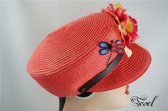 Flower Corsage Dragonfly Design Colorful Newsboy Hat<br>花朵+蜻蜓+仿珍珠海軍草帽