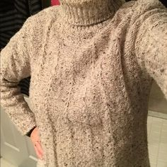 ADDED 11/15Tan tweed like turtle neck sweater Turtle neck sweater. Gently used. Yarn is a heathery tweed-like tan with specks of other earthy tones. Pretty detailing in the knit pattern.  Says size S but fits more like an loose M.  There is a tendency for a little pilling - easily removed (acrylic). Dress Barn Sweaters Cowl & Turtlenecks