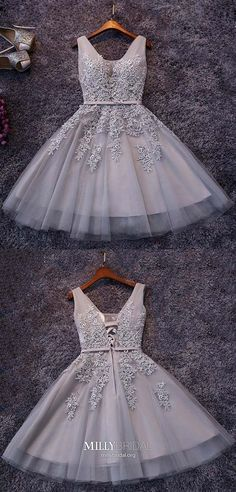 V-neck Prom Dresses, V Neck Prom Dresses, Prom Dresses Sexy, Grey Homecoming Dress, Short Prom Dresses Short Homecoming Dresses Unique Homecoming Dresses, Grey Prom Dress, V Neck Prom Dresses, Dresses Short, Pageant Dresses, Ball Dresses, Sexy Dresses, Formal Dresses, Dress Outfits