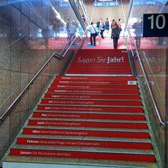 Months on Dusseldorf Hauptbahnhof stairs #dusseldorf #düsseldorf #stairs #creative #hauptbahnhof #düsseldorfhauptbahnhof #dusseldorfhauptbahnhof #red #months #db #cool #happy #year