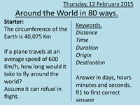 Around the World in 80 ways. - Resources - TES