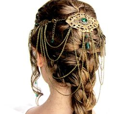 Goddess Headdress in Bronze and Emerald (255 AUD) ❤ liked on Polyvore featuring accessories, hair accessories, hair, jewelry, hairstyles, fantasy and victorian hair accessories