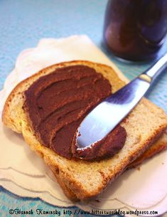 chocolate chickpea spread hmmm....might just try this. Sub out olive oil with coconut oil and sub sugar with something less processed, maybe sucanat.
