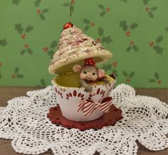 Ooak Needle Felted Mouse Inside A Christmas Cupcake !!!.......Free Shipping Too! by JustFeltRite on Etsy
