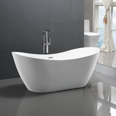 Relax and unwind in this luxurious Lorient 59 in. The white finish complete the contemporary design of this soaking tub that would make a great addition to any bathroom. Soaker Tub Free Standing, Double Ended Bath, Modern Bathtub, Freestanding Bathtub, Stand Alone Tub, Diy Home, Home Decor, Soaking Bathtubs, White Acrylics