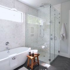 Transitional bathroom is very popular nowadays. This design is about the combination of contemporary and traditional style. You will have cold tone and warm touch in one bathroom. Transitional bathroom also appear like a spa room. White Bathroom Designs, Bathroom Interior, Transitional Bathroom Design, Bathrooms Remodel, Marble Tile Bathroom, Bathroom Design, Bathroom Remodel Master, Transitional Bathroom, Bathroom Layout