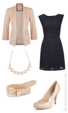 Navy dress with stone accessories outfit idea                                                                                                                                                     More