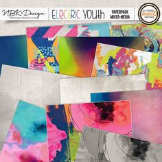 Electric Youth {Paper-Set: Mixed Media}painted papers for digital art and digital scrapbooking