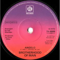 """7"""" 45RPM Angelo/All Night by Brotherhood Of Man from PYE (7N 45699)"""