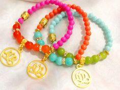 Golden lotus yoga bracelets  Buddha bracelets  by Nezihe1 on Etsy