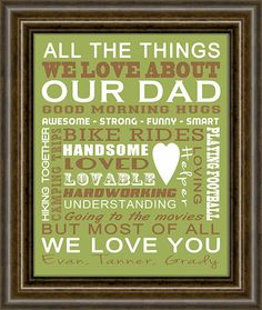 """Gifts for Dad - Christmas Gift For Dad -  Father Of The Bride Gift - Dad Gift - Grandparent Gift - Gifts From Kids - 8X10"""" Print - Art Print..."""