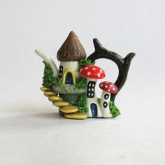 Miniature Fairy Hobbit Cluster House Teapot by ArtisticSpirit