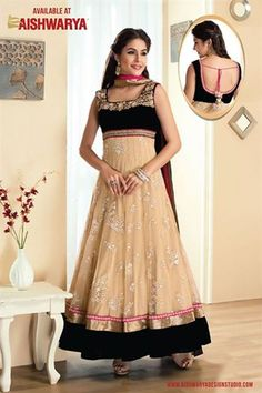 Create an enigma by wearing this traditional black-beige color long anarkali salwar kameez suit.  MRP - 8700/- Free Shipping Worldwide.  http://www.aishwaryadesignstudio.com/ready%20to%20ship/15324-beige-black-color-anarkali-suit.aspx