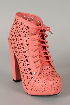 Ruth-01 Perforated Lace Up Platform Bootie $43.20