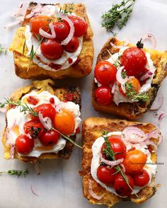 Eggy toasts topped with whipped #ricotta, sauteed cherry #tomatoes, red onion & thymeZeynep Dinç (@homemade.is.happiness) • Instagram photos and videos