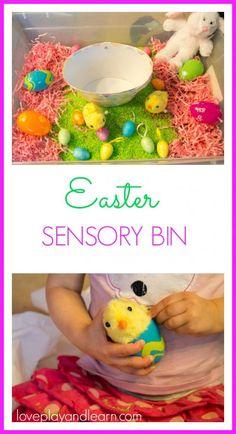 Easter Sensory Bin. Fun Easter Activity for Toddlers and Kids. Easter Sensory Bin and Sensory Activity.