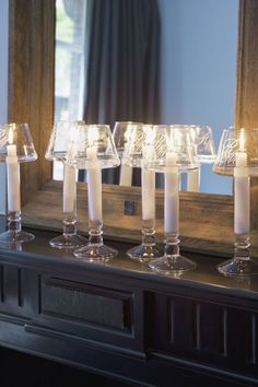 glass candlesticks and glass candle shades - lovely