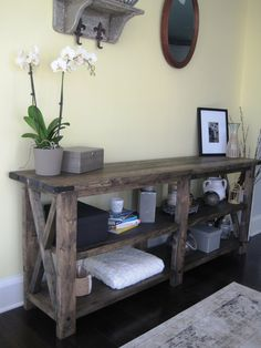 Old Pallets Large Rustic X Distressed Handmade Console / Media Table - - Country Furniture, Pallet Furniture, Furniture Projects, Home Projects, Living Room Furniture, Living Room Decor, Furniture Market, Furniture Removal, Furniture Online