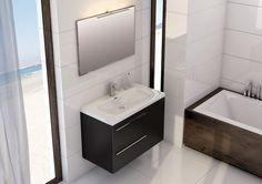 Marsylia 2S czarny mat/black mat, umywalka ceramiczna/ceramic washbasin Iwa.  #elita #meble #lazienka #marsylia #bathroom #furniture