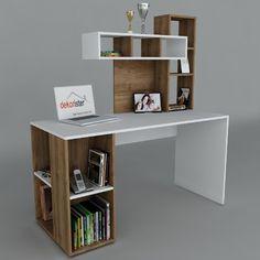 Pracovní stůl Coral White/Walnut, 60x140x153,8 cm | Bonami