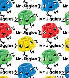 Crazy cute jello Mr Giggles fabric for Spoonflower designed by me, Andi Bird.