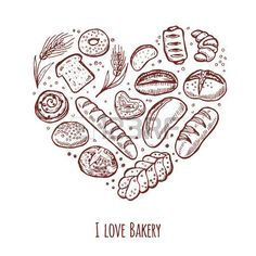 I love bakery. Hand drawn icons set in the shape of heart. photo