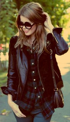 Leather, layers & plaid + shades