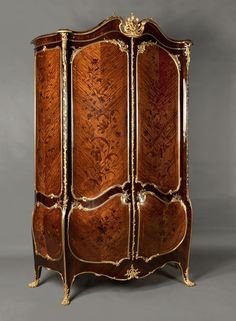 Joseph-Emmanuel Zwiener An Exceptional Gilt-Bronze Mounted Marquetry Armoire  French, Circa 1880.