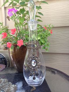 Decorative Glass Bottle with Bling by TABASDESIGNS on Etsy, $35.00
